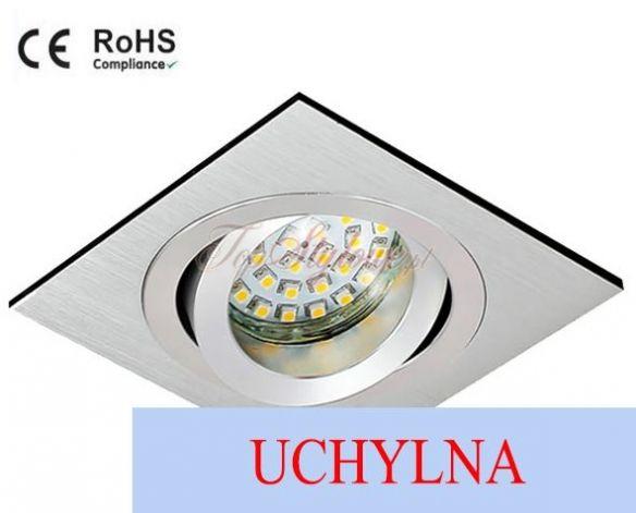 Oprawa regulowana kwadrat srebrna drapana wycięcie koło mat odlew aluminiowy LED 230 V 3,5W OK9-SD-R