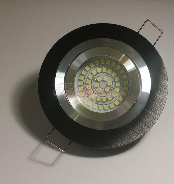 Oprawa regulowana koło czarna i srebrna mat odlew aluminiowy LED 230V 3,5W OO9-CZD-R