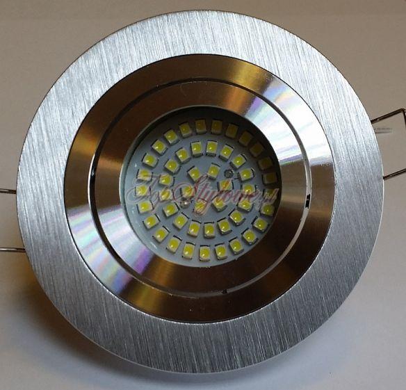 Oprawa regulowana koło srebrna drapana odlew aluminiowy zestaw z żarówką LED 230V GU10 3,5W i gniazdem OO9-SD-R