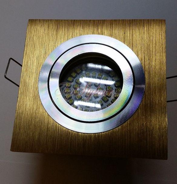 Oprawa złota regulowana kwadrat złoto szczotkowane 9,2cm wycięcie koło odlew aluminiowy LED 230 V + 3,5W żarówka GU10 komplet OK9-ZM-R