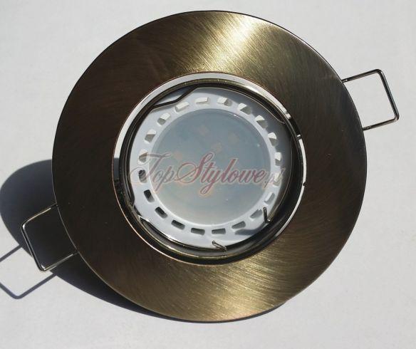 Oprawa do podbitki i sufitu podwieszanego Patyna (stare złoto) okrągła ruch. odlew aluminiowy LED 230V-GU10- 3,5V ciepła/zimna OO9-ZP-R