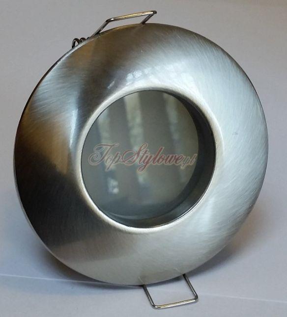 Oprawa wodoszczelna IP44 do podbitki dachowej i pod prysznic srebrna pmat okrągła komlet z żarówką LED 230 V - 3,5W  OO65-SM-S
