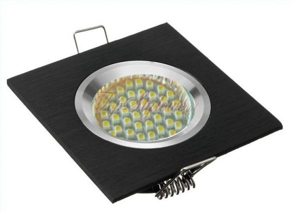 Oprawa stała kwadrat czarna 8cm odlew aluminiowy LED 230 V + LED-3,5W kod OK8-CZ-S