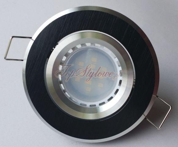 Oprawa CZARNA z zewnątrzną opaską srebrną regulowana okrągła odlew aluminiowy LED 230 V - 3,5 W do podbitki i sufitu OO9-CZO-R