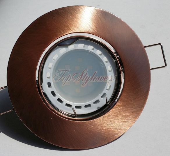 Oprawa do podbitki i sufitu podwieszanego Antyczne złoto (mosiądz) okrągła ruch. odlew aluminiowy LED 230V-GU10- 3,5V ciepła/zimna  OO9-ZAM-R