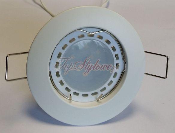 Oprawa okrągła Biała stała 80mm odlew aluminiowy LED 230V-GU10- 3,5V ciepła/zimna OO8-B-S