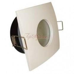 Oprawa kwadratowa biała hermetyczna wodoszczelna IP65 łazienkowa lub pod dach zewenętrzna + żarówka LED 230 V - 3,5W komplet OK65-B-S