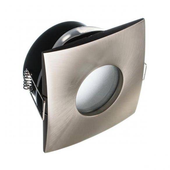 Oprawa kwadratowa sraebrny mat hermetyczna wodoszczelna IP65 łazienkowa lub pod dach zewenętrzna + żarówka LED 230 V - 3,5W komplet OK65-S-S