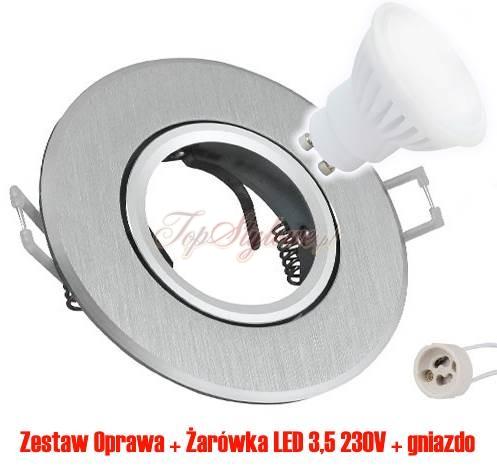 Oprawa Srebrna szczotkowana szeroka 9,5cm regulowana okrągła odlew aluminiowy + żarówka LED 230 V - 3,5W zestaw. Do podbitek dachowych i wnętrz OO96-SRD-R