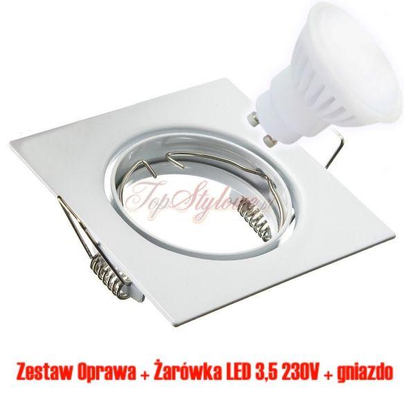 Oprawa do podbitki dachowej kwadrat 8,2cm kwadrat biała regulowana z odlewu aluminiowego + żarówka LED 230 V - 3,5 W OK8-B-R