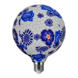 360° Żarówka dekoracyjna FOLK BLUE LED G125 E27, 4W, 1900K 311320