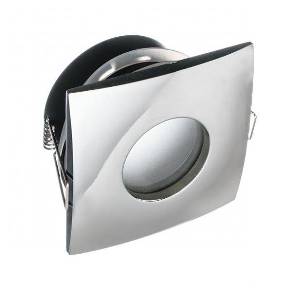Oprawa kwadratowa chrom hermetyczna wodoszczelna IP65 łazienkowa lub pod dach zewenętrzna + żarówka LED 230 V - 3,5W komplet OK65-B-S