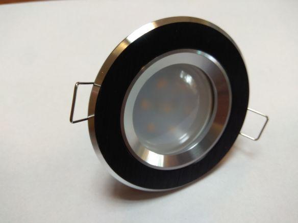 Oprawa do podbitek dachowych stała okrągła CZARNA -  odlew aluminiowy OO8-CZ-S LED 230 V - 3,5 w /żarówka w kompleie  /