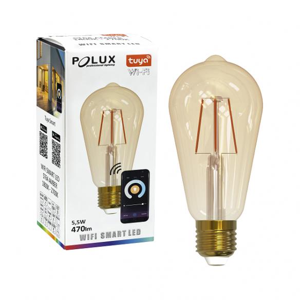 Żarówka dekoracyjna Wi-Fi SMART LED żarówkafilament ST64, 5,5W, 470lm, E27 313829 Polux